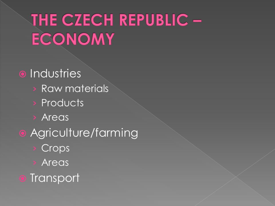 THE CZECH REPUBLIC – ECONOMY