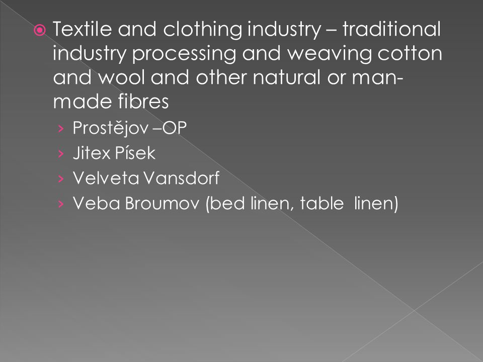 Textile and clothing industry – traditional industry processing and weaving cotton and wool and other natural or man-made fibres
