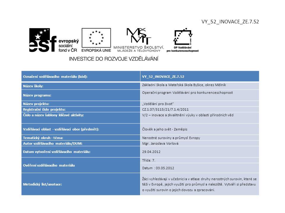 VY_52_INOVACE_ZE.7.52 Označení vzdělávacího materiálu (kód):