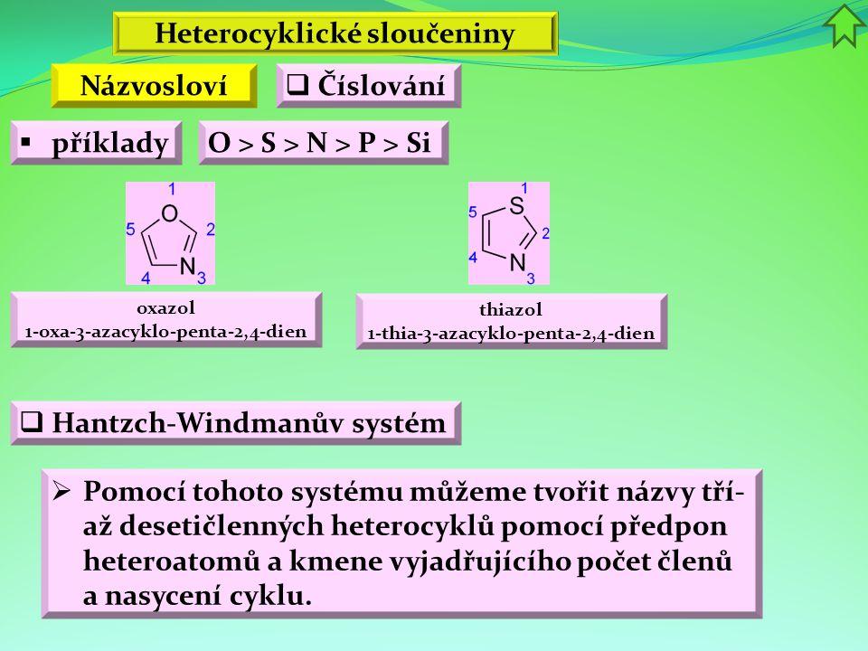 Heterocyklické sloučeniny Názvosloví