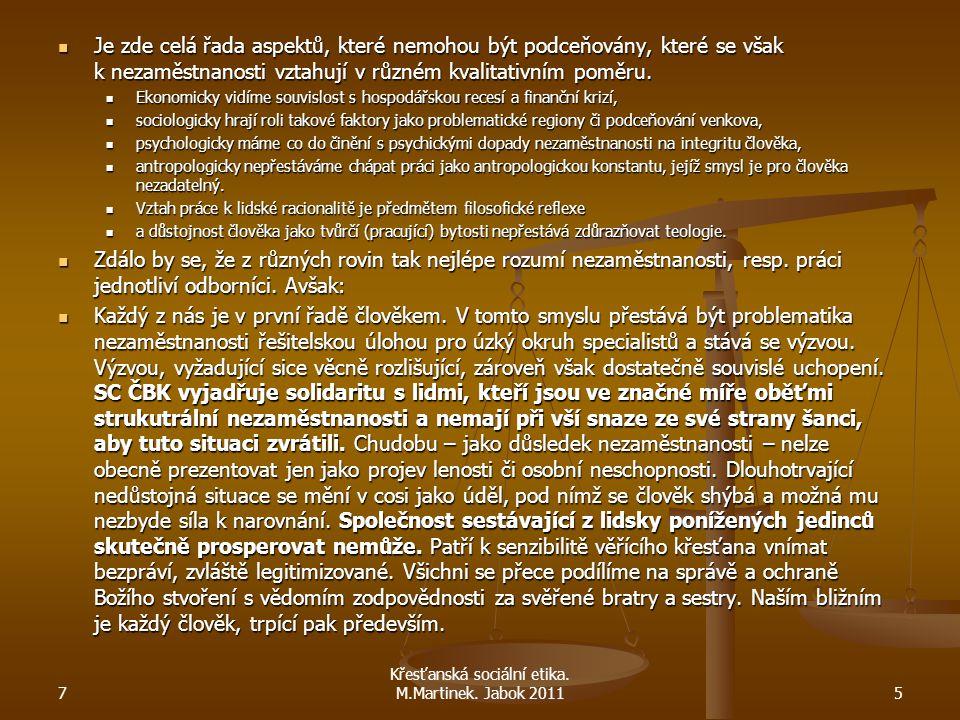 Křesťanská sociální etika. M.Martinek. Jabok 2011