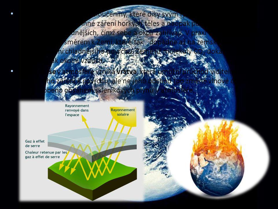 Skleníkové plyny: jsou sloučeniny, které díky svým fyzikálním vlastnostem propouštějí krátkovlnné záření horkých těles a naopak pohlcují dlouhovlnné záření těles chladnějších, čímž sebe a okolí zahřívají. V praxi tedy propouštějí záření Slunce směrem k Zemi, které tak dopadne až na zemský povrch. Zpětné záření chladnějšího povrchu Země již molekuly CO2 dokážou pohltit a zahřívají tak okolní vzduch.