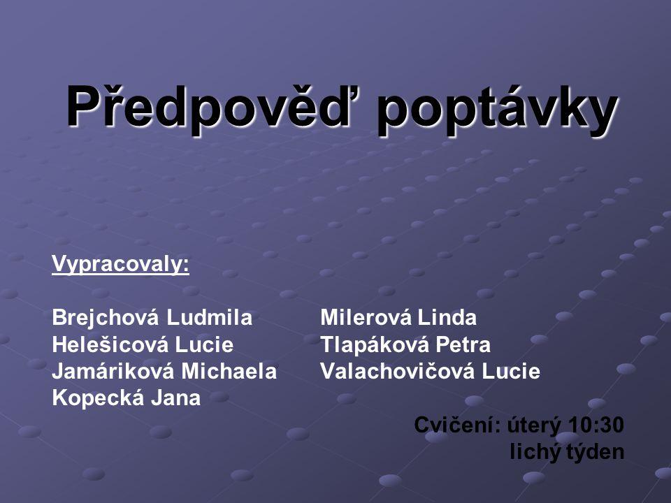 Předpověď poptávky Vypracovaly: Brejchová Ludmila Milerová Linda
