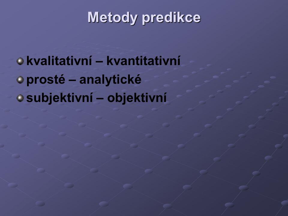 Metody predikce kvalitativní – kvantitativní prosté – analytické