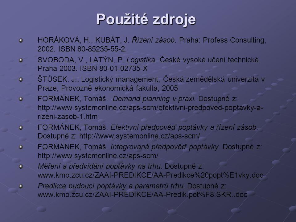 Použité zdroje HORÁKOVÁ, H., KUBÁT, J. Řízení zásob. Praha: Profess Consulting, 2002. ISBN 80-85235-55-2.