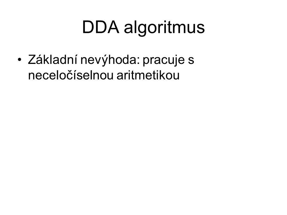 DDA algoritmus Základní nevýhoda: pracuje s neceločíselnou aritmetikou