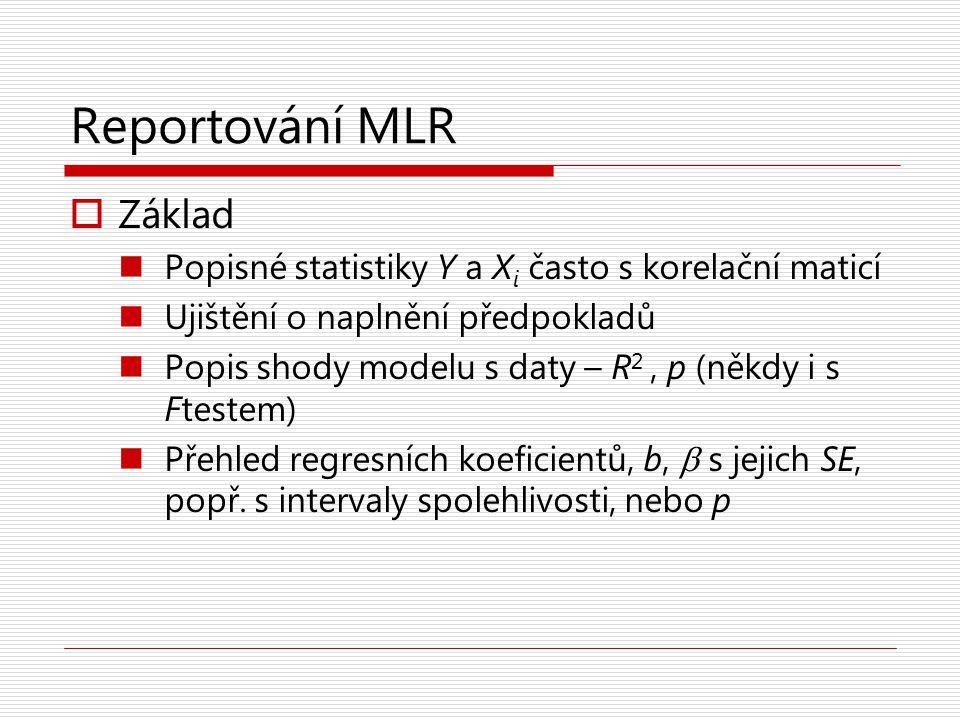 Reportování MLR Základ