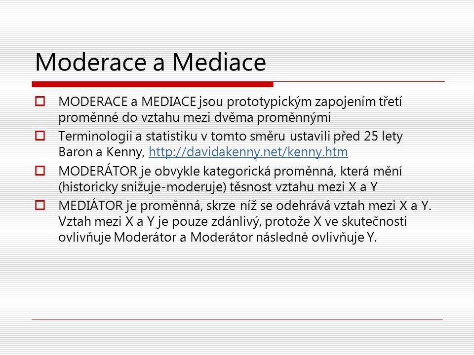 Moderace a Mediace MODERACE a MEDIACE jsou prototypickým zapojením třetí proměnné do vztahu mezi dvěma proměnnými.
