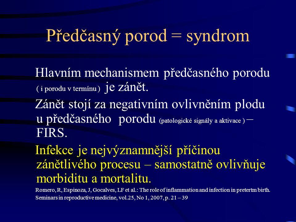 Předčasný porod = syndrom