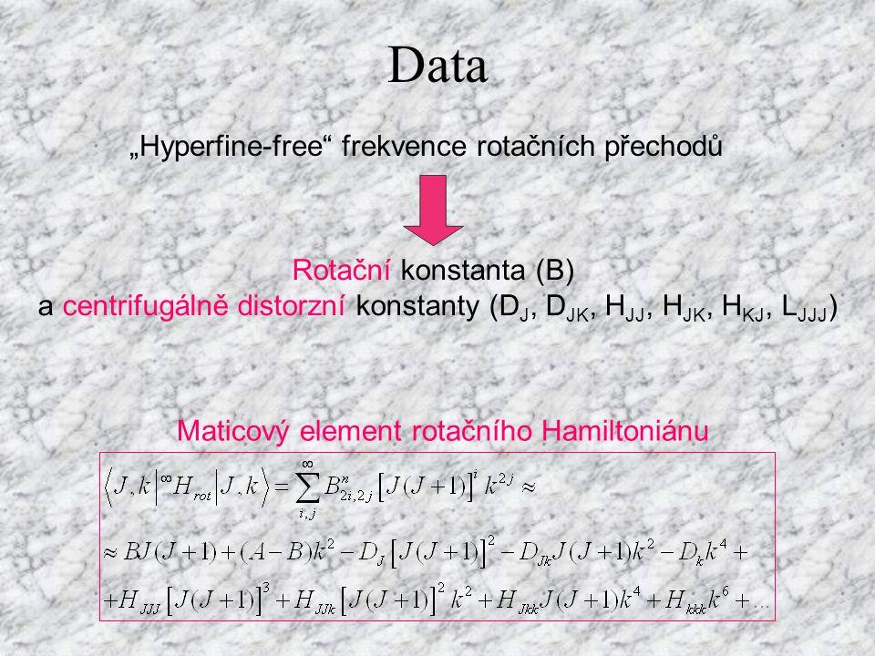 a centrifugálně distorzní konstanty (DJ, DJK, HJJ, HJK, HKJ, LJJJ)
