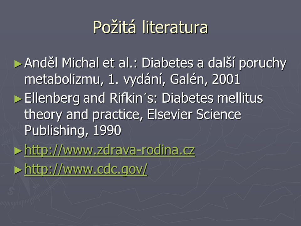 Požitá literatura Anděl Michal et al.: Diabetes a další poruchy metabolizmu, 1. vydání, Galén, 2001.