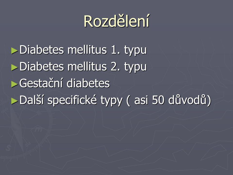 Rozdělení Diabetes mellitus 1. typu Diabetes mellitus 2. typu