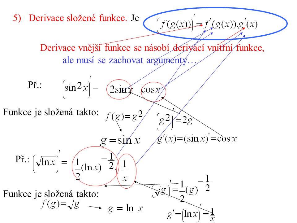 5) Derivace složené funkce. Je