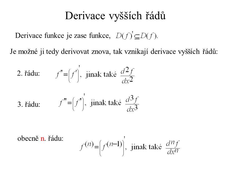Derivace vyšších řádů Derivace funkce je zase funkce,