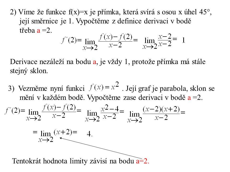 2) Víme že funkce f(x)=x je přímka, která svírá s osou x úhel 45°,