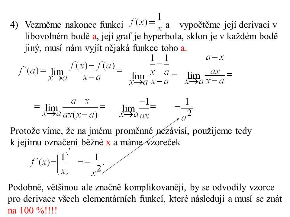 Vezměme nakonec funkci a vypočtěme její derivaci v