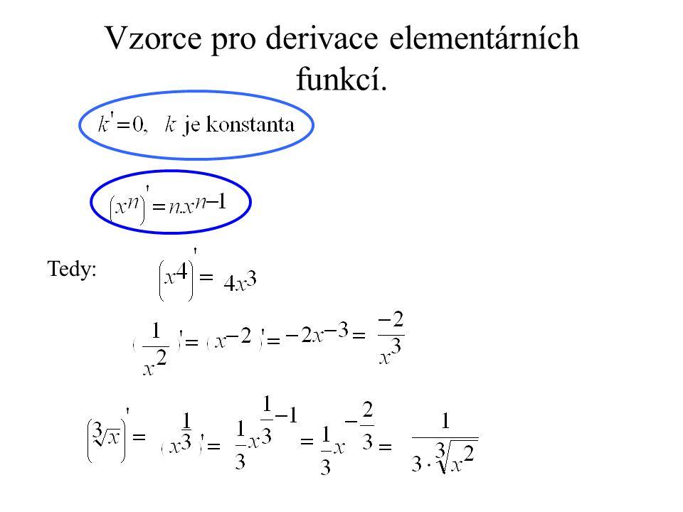 Vzorce pro derivace elementárních funkcí.