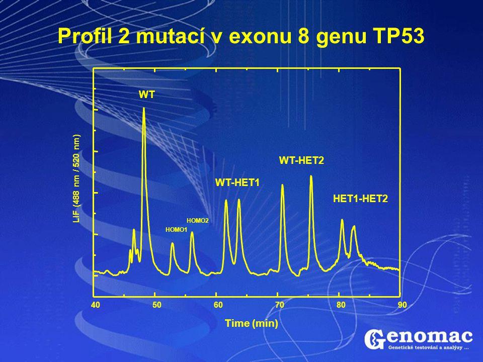 Profil 2 mutací v exonu 8 genu TP53