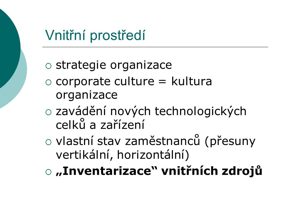 Vnitřní prostředí strategie organizace
