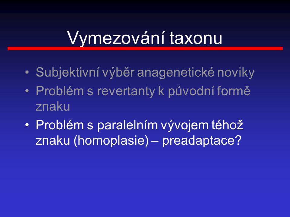 Vymezování taxonu Subjektivní výběr anagenetické noviky