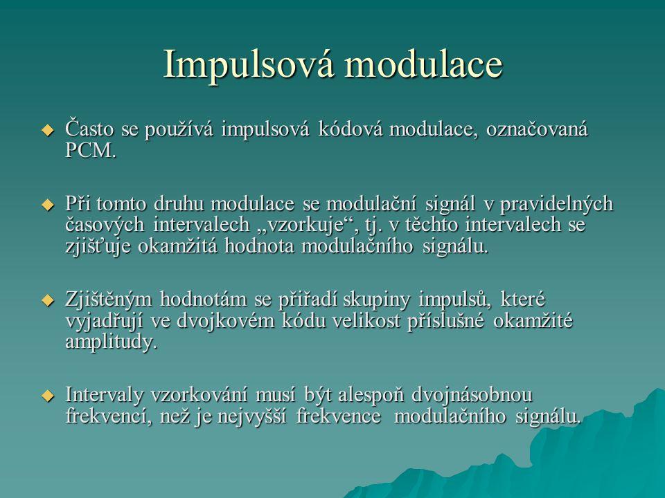 Impulsová modulace Často se používá impulsová kódová modulace, označovaná PCM.