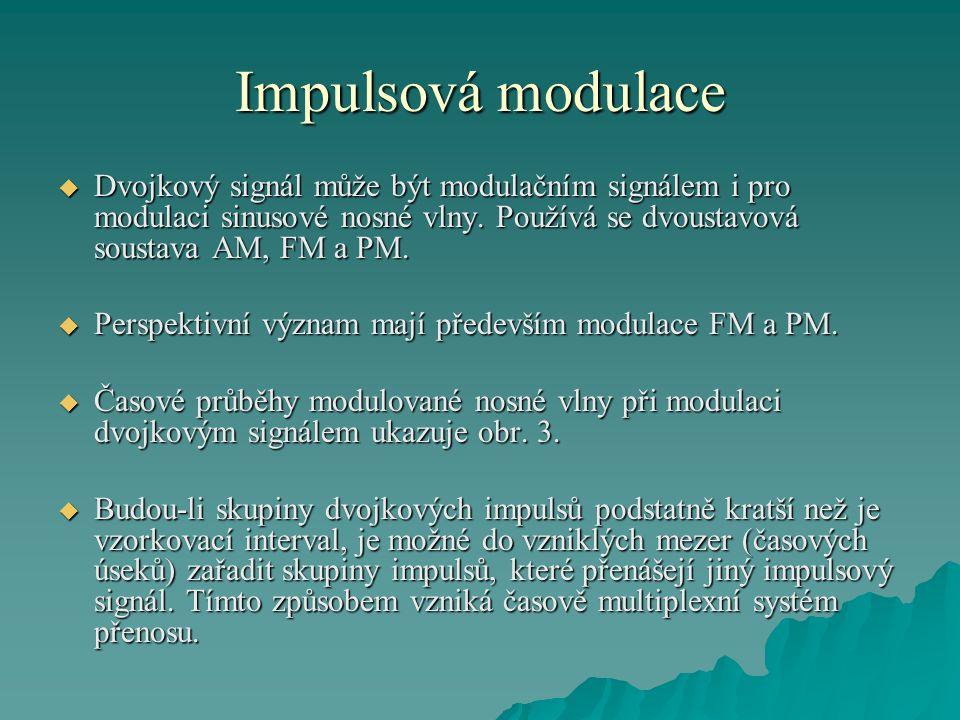 Impulsová modulace Dvojkový signál může být modulačním signálem i pro modulaci sinusové nosné vlny. Používá se dvoustavová soustava AM, FM a PM.