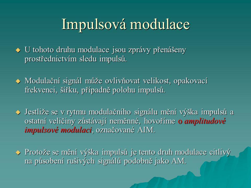Impulsová modulace U tohoto druhu modulace jsou zprávy přenášeny prostřednictvím sledu impulsů.