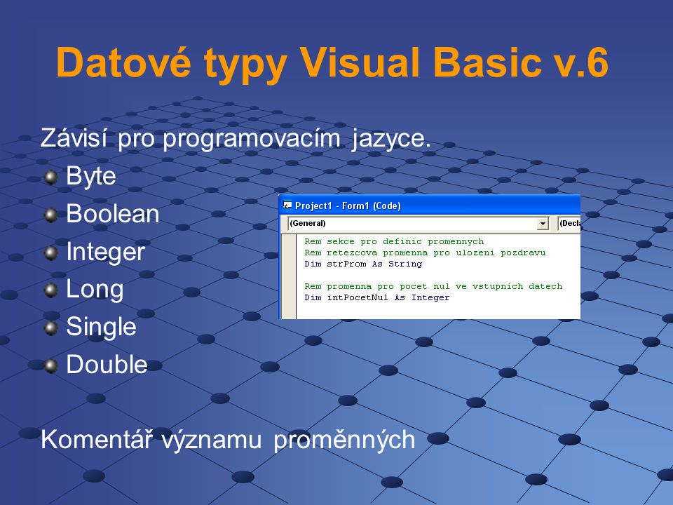 Datové typy Visual Basic v.6
