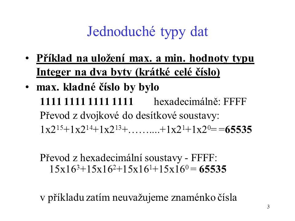Jednoduché typy dat Příklad na uložení max. a min. hodnoty typu Integer na dva byty (krátké celé číslo)