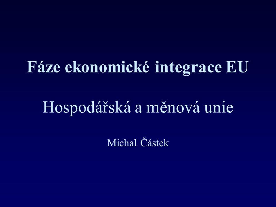 Fáze ekonomické integrace EU Hospodářská a měnová unie