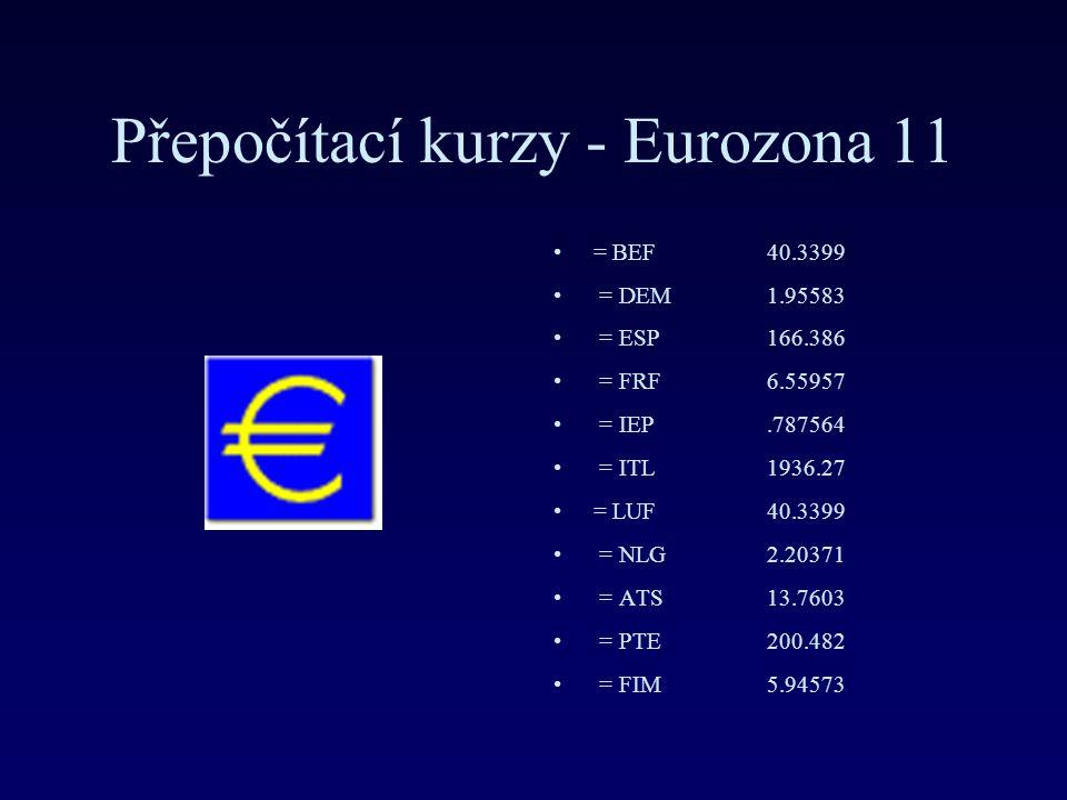 Přepočítací kurzy - Eurozona 11