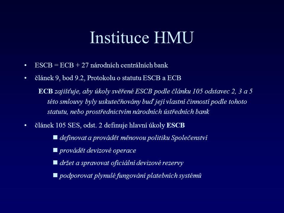 Instituce HMU ESCB = ECB + 27 národních centrálních bank