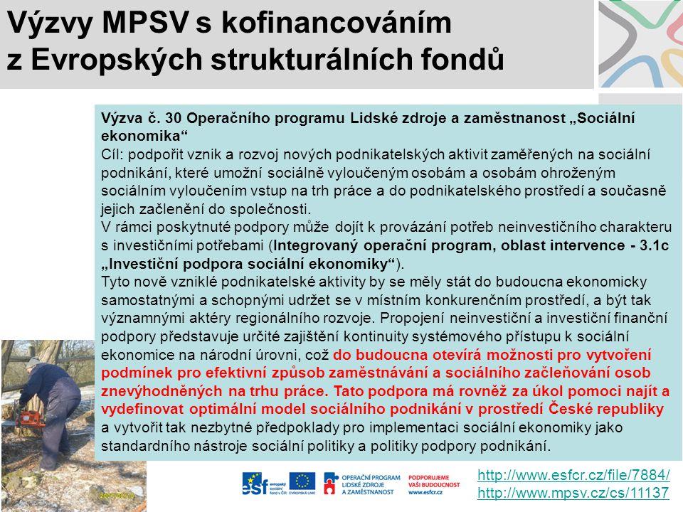 Výzvy MPSV s kofinancováním z Evropských strukturálních fondů