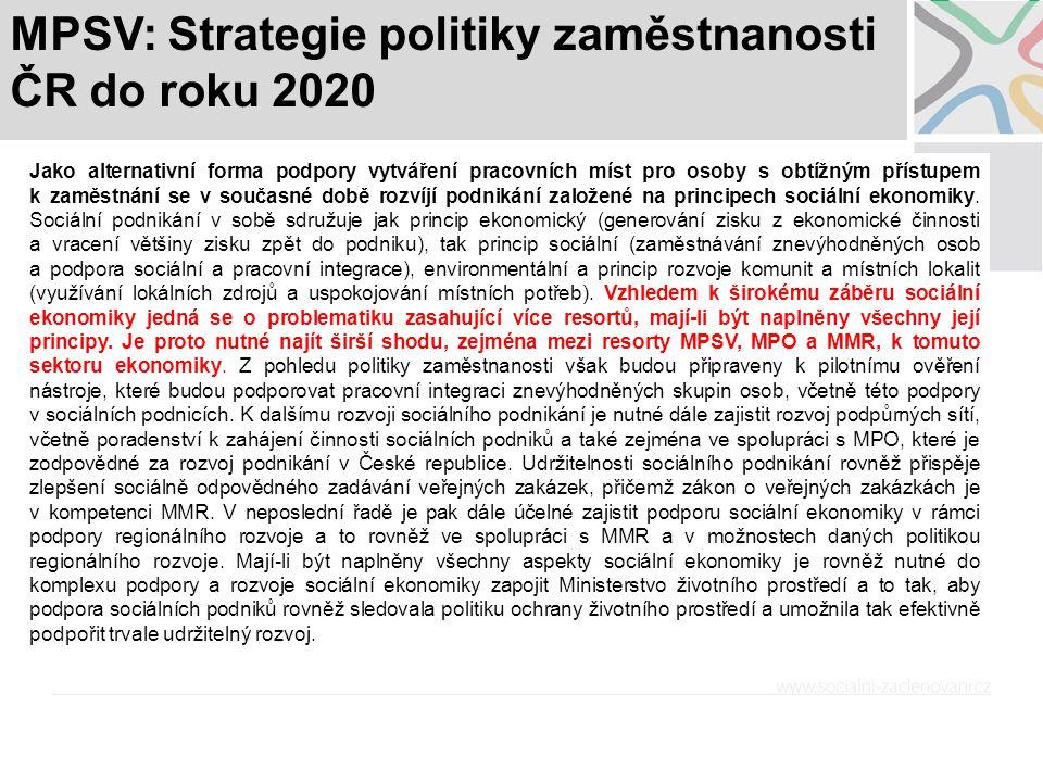 MPSV: Strategie politiky zaměstnanosti ČR do roku 2020