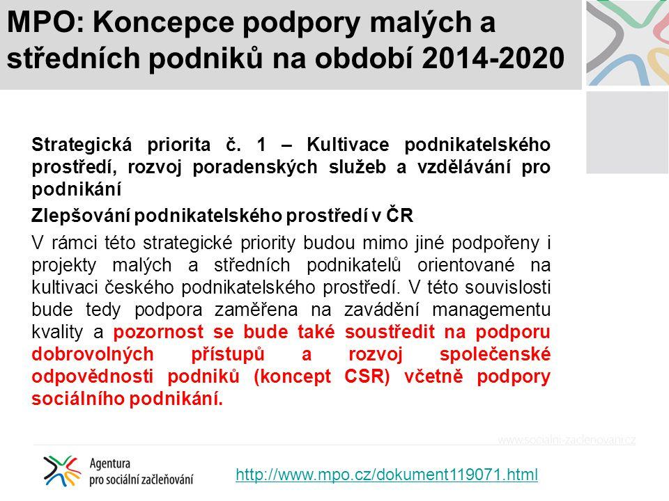 MPO: Koncepce podpory malých a středních podniků na období 2014-2020