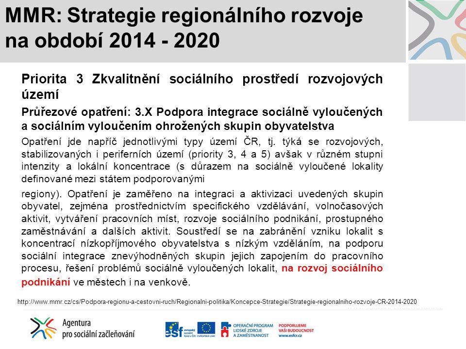 MMR: Strategie regionálního rozvoje na období 2014 - 2020