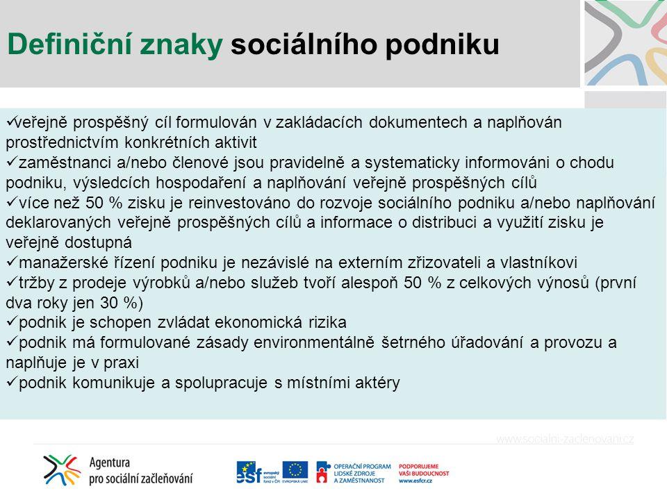 Definiční znaky sociálního podniku
