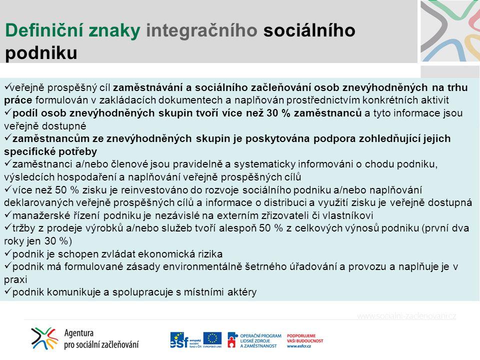 Definiční znaky integračního sociálního podniku