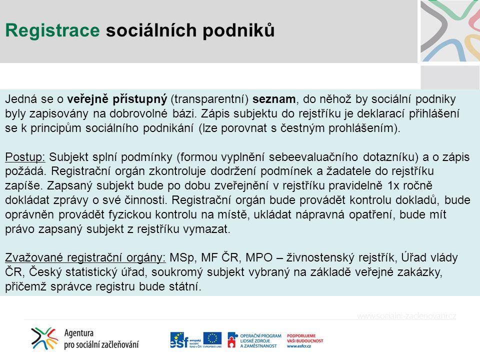 Registrace sociálních podniků