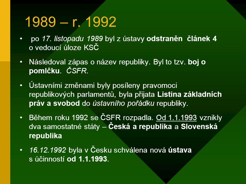 1989 – r. 1992 po 17. listopadu 1989 byl z ústavy odstraněn článek 4 o vedoucí úloze KSČ.
