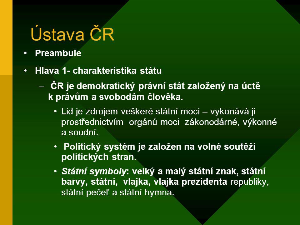 Ústava ČR Preambule Hlava 1- charakteristika státu