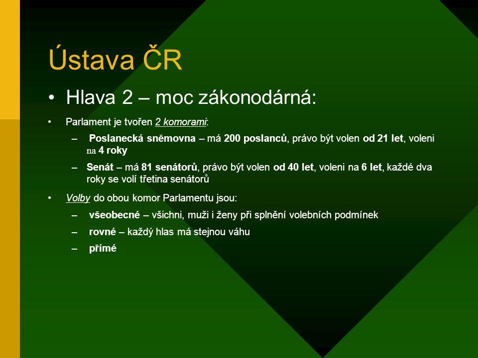 Ústava ČR Hlava 2 – moc zákonodárná: Parlament je tvořen 2 komorami: