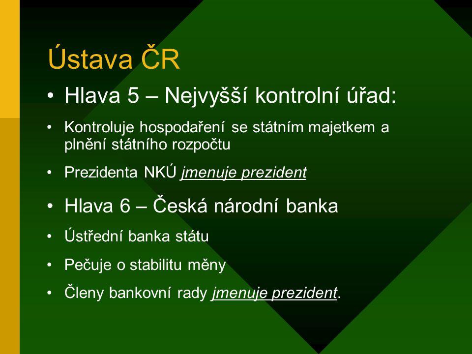 Ústava ČR Hlava 5 – Nejvyšší kontrolní úřad:
