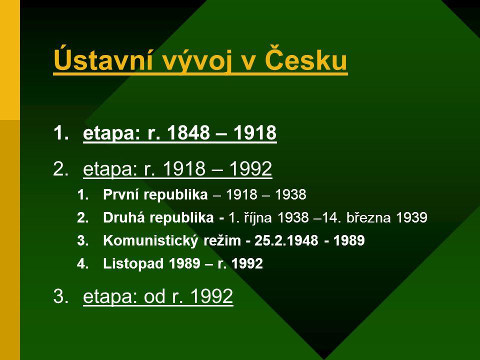 Ústavní vývoj v Česku etapa: r. 1848 – 1918 etapa: r. 1918 – 1992