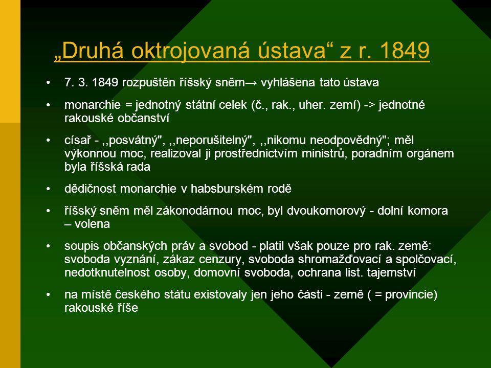 """""""Druhá oktrojovaná ústava z r. 1849"""