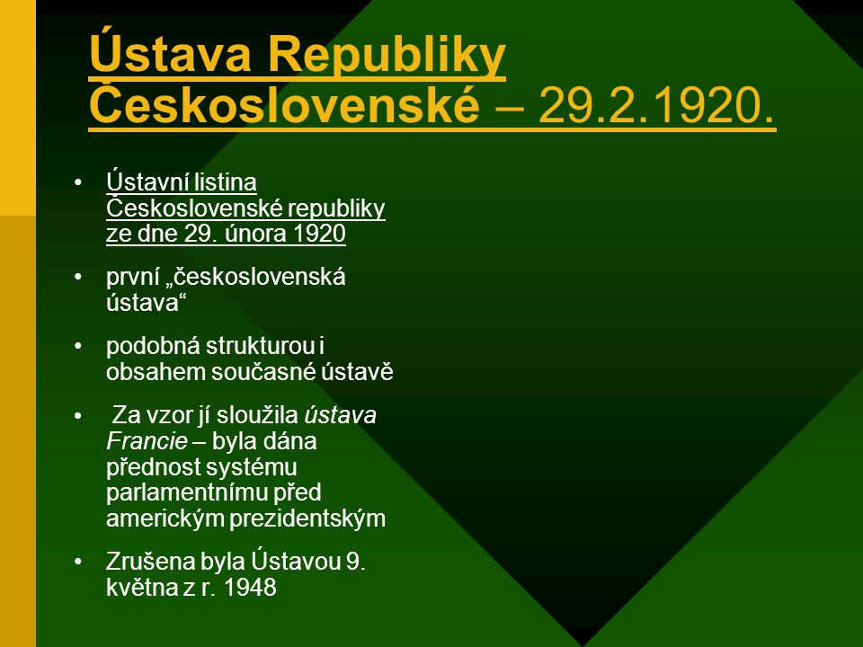 Ústava Republiky Československé – 29.2.1920.