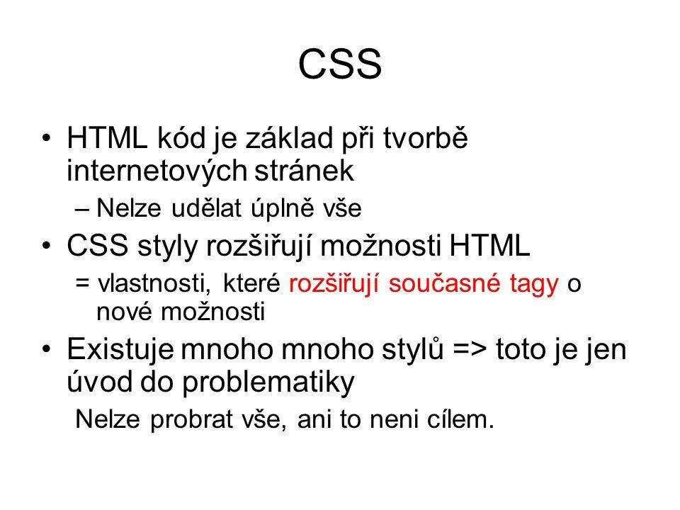 CSS HTML kód je základ při tvorbě internetových stránek