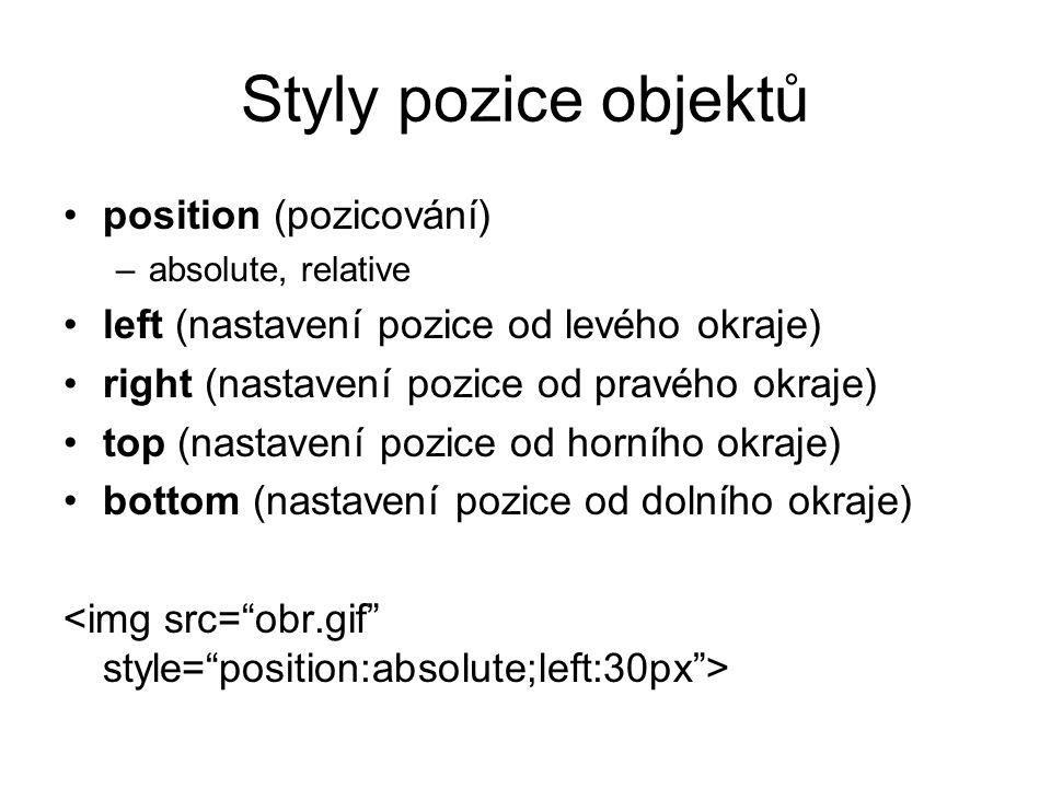 Styly pozice objektů position (pozicování)
