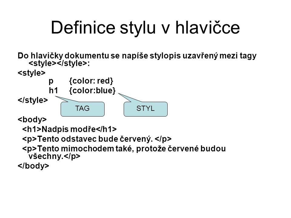 Definice stylu v hlavičce
