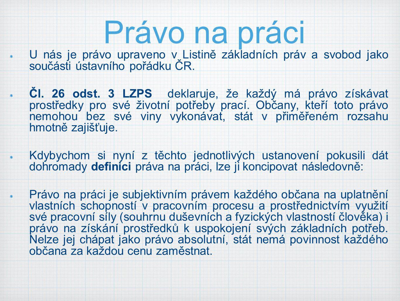 Právo na práci U nás je právo upraveno v Listině základních práv a svobod jako součásti ústavního pořádku ČR.